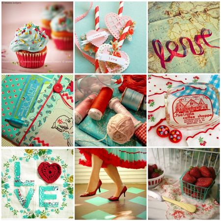Love - turquoise and red