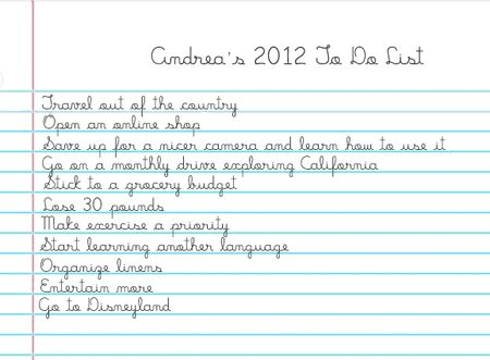 Andrea 2012 To Do List